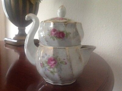 vintage , rose pattern, combination creamer and sugar bowl.