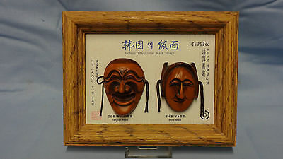 Unusual Framed Pair Of Traditional Korean Masks