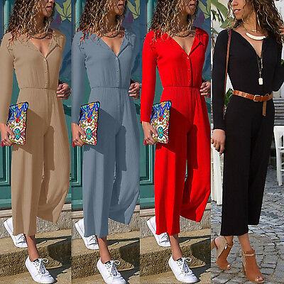 Womens Button V Neck Long Sleeve Jumpsuit Ladies Casual Party Wide Leg Playsuit