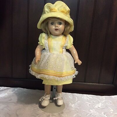 """Vintage RARE """"NANCY LEE"""" Composition Doll By Arranbee R&B Beautiful yellow Dress"""