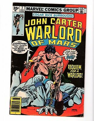 JOHN CARTER WARLORD of MARS 3 rare 35 cent VARIANT very good bronze age Marvel