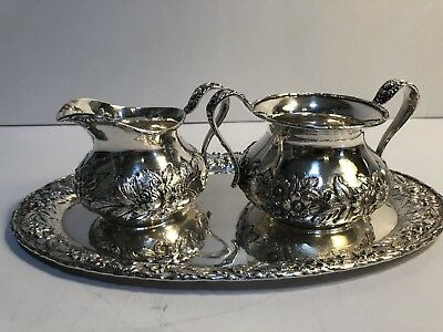 S. Kirk & Sons Sterling Repousse Creamer Sugar & Tray #418 & 150F 477 Grams