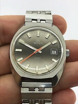 VINTAGE BREIL OKAY AUTOMATIC 17 JEWELS ETA 2783 MENS 35x42mm SWISS MADE