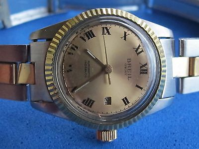 VINTAGE BREIL OKAY AUTOMATIC STAINLESS STEEL & GOLD 18K BEZEL SWISS MADE 26.5mm