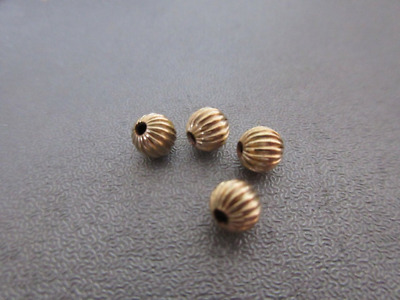14K Gold Filled Corrugated Round Bead Spacer 5mm 4pcs