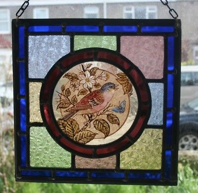 Beautiful traditional Victorian 'chaffinch' design stained glass panel.