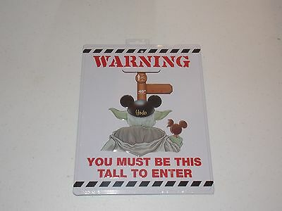 """NEW Disney Parks Warning Metal Sign """"You Must Be This Tall to Enter"""" Master Yoda"""