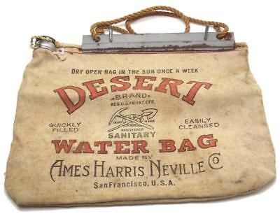 Vintage Desert Sanitary Water Bag Flax Canvas Ames Harris Nevillie Co Made USA