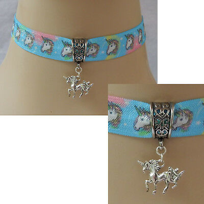 Unicorn Choker Necklace Pendant Handmade Adjustable Ribbon Silver Fashion Women