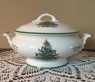 Spode Christmas Tree (Green Trim) Footed Vegetable Serving Dish