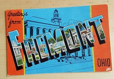 Big letter linen postcard, Greetings from Fremont, Ohio