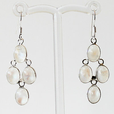 925 Sterling Silver Semi-Precious Natural Moonstone Earrings