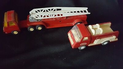 Vintage Red Tonka Fire Truck with Ladder and Pumper Truck