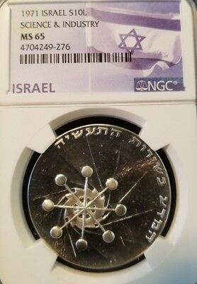 1971 Israel Silver 10 Lirot Science & Industry Ngc Ms 65 Mirror Surfaces !!!