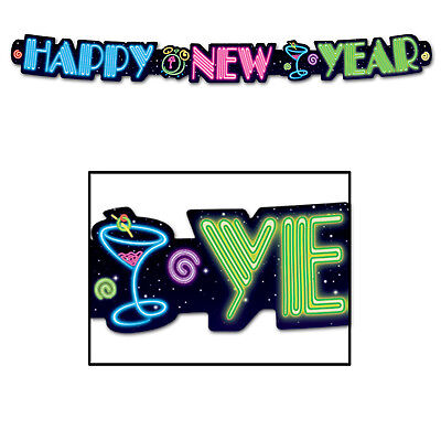 Happy New Year Neon Streamer Banner Hanging Decoration Fun Eve Party Celebration