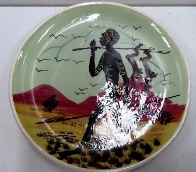 Guy Boyd Hand Painted Aboriginal Hunter With Rabbits Australian Pottery Vintage
