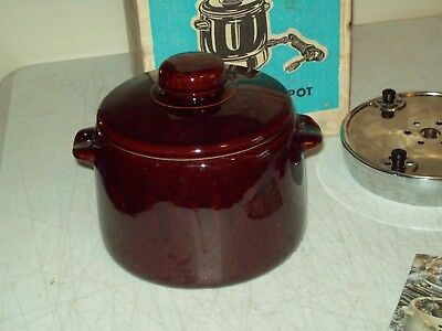 Vintage Stoneware Bean Pot no. 3299 American made West Bend with box & booklet