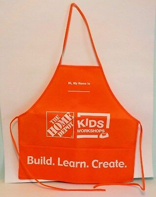 Home Depot Kids Workshop Apron Build Learn Create Child's Children Orange THD
