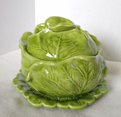 Vintage 70s HOLLAND MOLD Lettuce Cabbage Covered Bowl with Lid and Plate