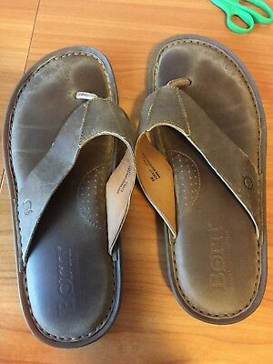 043ecacd31ea Born Zain Safari Brown Leather Flip Flops Thongs Sandals Size 8 Medium.  Men s
