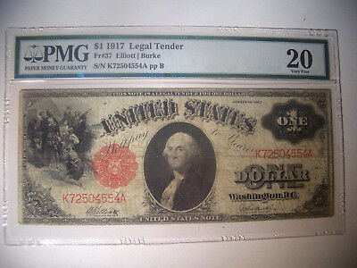 1917 * $1 Fr # 37 * Legal Tender LARGE Note * PMG Very Fine 20 Currency !!!!!!!!