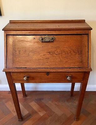 Arts and Crafts Light Oak Bureau, with drop down leaf. Antique Furniture