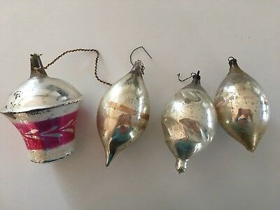 4 antique Christmas ornaments hand blown 4""