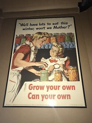 WWII US ORIGINAL 1943 16x22 poster framed Grow Your Own Man In The High Castle