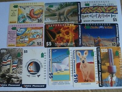 11x TELECOM AUSTRALIA PHONECARDS VARIOUS BULK LOT 1990s ASSORTED - FREE POSTAGE