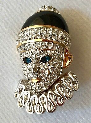 Authentic Signed SWAROVSKI AUSTRIAN CLOWN PIERROT BROOCH PIN 22 KT Gold Plated