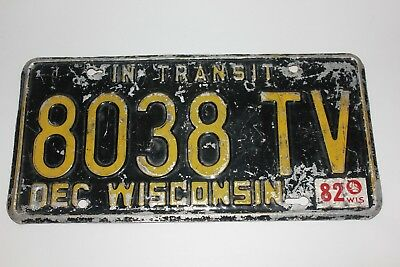 1982 Wisconsin License Plate Yellow tag Black plate 8038 TV In Transit Dec 81 82