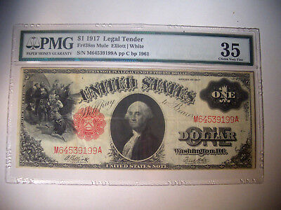 1917 * $1 Fr # 38m MULE Legal Tender LARGE Note PMG Choice Very Fine 35 Currency