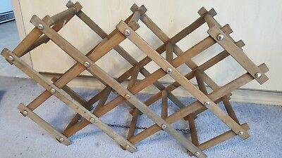 Brown Vintage Wooden Wine Rack Holds 10 Bottles Folding DIY Holder Shabby Rustic