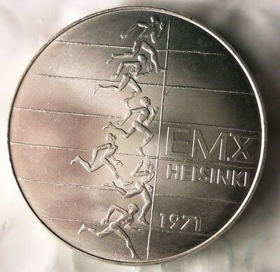 1971 FINLAND 10 MARKKAA - Large Silver Crown Coin - RARE - AU/UNC - Lot #112
