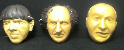 Three Stooges Chalkware  Chalk Ware, Moe, Larry, Curly, Maker Unknown