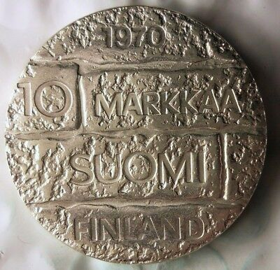 1970 FINLAND 10 MARKKAA - Large Silver Crown Coin - RARE - AU/UNC - Lot #112