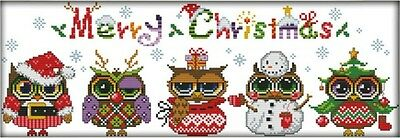 Christmas Owls. 14CT counted cross stitch kit. Craft brand new.