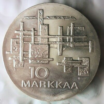 1967 FINLAND 10 MARKKAA - Large Silver Crown Coin - RARE - AU/UNC - Lot #112