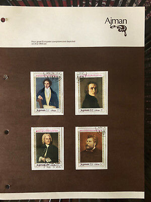 4 x 1969 Ajman stamps depicting European composers