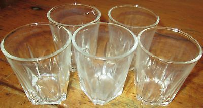 Vintage Lot of 5 Square Base Juice Pressed Cut Glass Tumblers