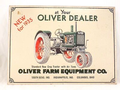 1991 Used Embossed Metal OLIVER Dealer Tractor Sign - AAA Sign Co. Coitsville OH