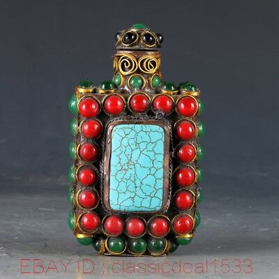 Chines Red Coral & Turquoise Handwork Carved Snuff Bottle MY0150