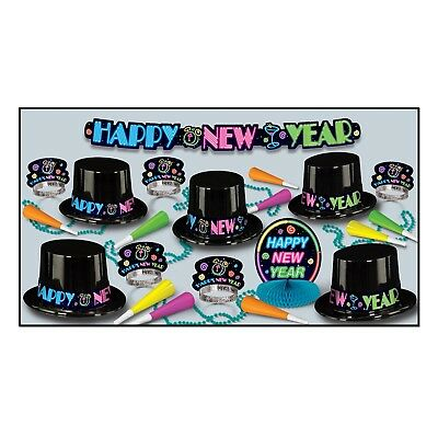 Neon Assortment Party Kit 10 People Hats Tiaras Horns New Year Eve Celebration