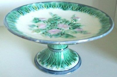 Pretty/Old Majolica Etruscan Morning Glory Cakestand, RARE & Very Nice, ca.1880