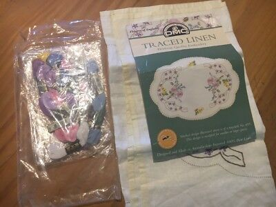 DMC Traced Linen Embroidery table runner set incomplete Flowers of England
