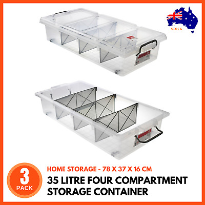 3 X Clear Plastic Storage Box 35l With Removable Dividers Containers