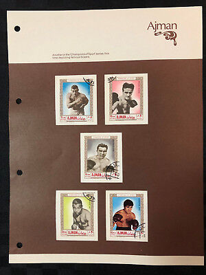 5 x 1969 Ajman stamps - Champions of Sport: Famous Boxers