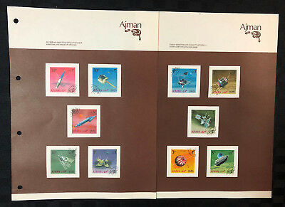 10 x 1968 Ajman stamps depicting space satellites and research vehicles