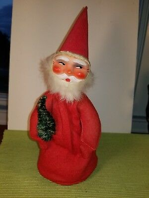"Vintage Felt W German Santa Belsnickle 10"", Fur Beard, Sisal, Candy Container?"