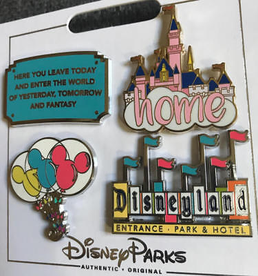 Disney Disneyland  Sign Pin Set of 4  Welcome Enter Home Balloon  NEW